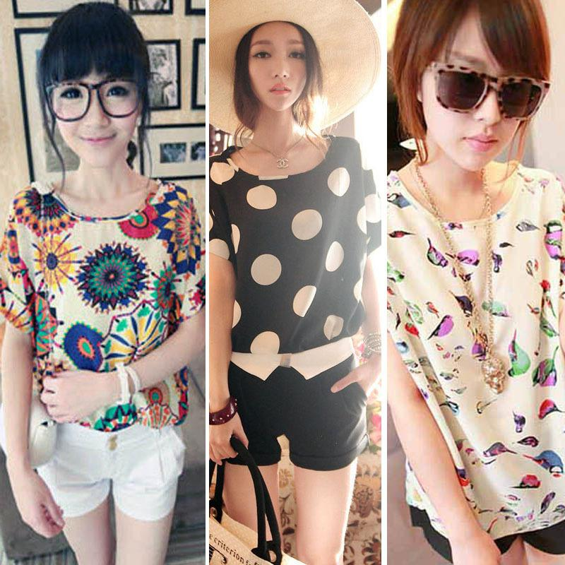 2cd47c9cf51 2019 Stylish Tops Women Girl Chiffon Loose Blouse Summer Tee Multicolor T  Shirt S M L For From Mingjing02