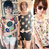 Wholesale Loose T Shirts For Girls - Stylish Tops Women Girl Chiffon Loose Blouse Summer Tee Multicolor T-shirt S M L For Free Shipping