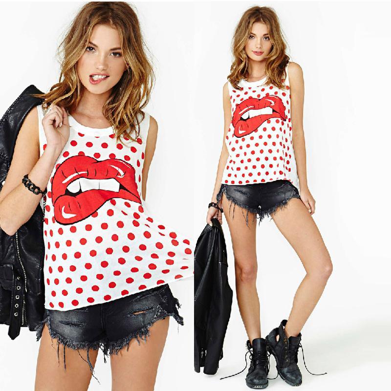 Nouveau Style # Femmes Hip-hop Rouge Lèvres Imprimer Sans Manches Polka Dot Lâche Débardeurs Pour Livraison Gratuite