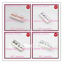Wholesale Wholesale Marine Floating Charm - Wholesale-10pcs ITEM, TOTAL 40pcs free shipping hot sell 4 items mixed charms of ARMY,MARINES,NAVY,AIR FORCE for floating glass locket