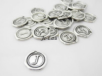 Wholesale Metal Stamping Letters - Wholesale-Set of 26 letters- 20mm Antique Silver Tone Base Metal Charms Pendants - Monogram Initial Stamped Wax Seal Alphabet Letter - A16
