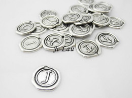 Wholesale Silver Tone Pendant Setting - Wholesale-Set of 26 letters- 20mm Antique Silver Tone Base Metal Charms Pendants - Monogram Initial Stamped Wax Seal Alphabet Letter - A16