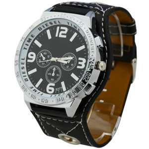 Wholesale New Arrival Men s Wrist Watches With Big Watch Black Band Round Face Synthetic Leather New