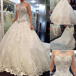 Wholesale Strapless Swarovski Crystals Wedding Gown - Wholesale - 2014 Newest Luxury Wedding Dresses With Halter Swarovski Crystals Beads Backless A Line Chapel Train Lace Bling Customed Ivory