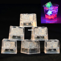Wholesale multi flashing ice cubes lights - LED Ice Cubes Bar Fast Slow Flash Auto Changing Crystal Cube Water-Actived Light-up 7 Color For Romantic Party Wedding Xmas Gift