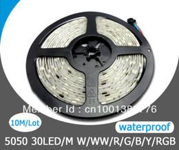 Wholesale Stip Led Lights - Wholesale-Free Shipping Waterproof 12V 5050 LED Strip Light RGB 30LEDs M 10M Lot 5M Roll LED Stip Lamp