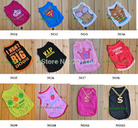 All'ingrosso-Small Dog Pet Clothes Shirt T Shirt Dress Vest tipo della miscela di ordine 10pcs / lot libera il trasporto