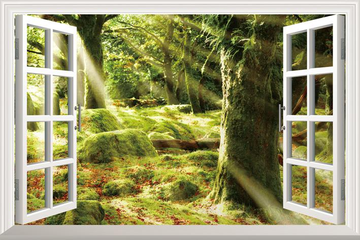 Diy Window Scenery Outside Fake Windows Sticker 70*46cm Sofa ...