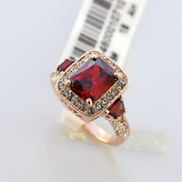 Wholesale lady ring ruby - 18K Rose Gold Plated Eternity Band Rings for women Crystal Surrounded Square Red Ruby Jewelry Lady women Finger diamond ring Wedding Rings