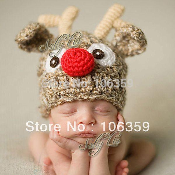 All'ingrosso-Cute Bambini Crochet Knit Deer Beanie Hat Baby Animal Cap Puntelli Foto Infant Elf Hat X Natale Berretti 1 pz H002