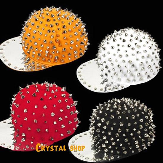 Toptan-Erkek Kadın Çocuk Spike Çiviler Perçin Cap Şapka Punk Rock Hiphop altın Renkler Pick punk spike şapka için