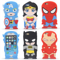 Wholesale 3d Venom Iphone Case - 3D Cartoon Venom Ironman Captain America Spider Superman Bat Man Batgirl Superhero Silicone Case For iPhone 4 4S 5 5S 6 Plus iPod Touch 4 5