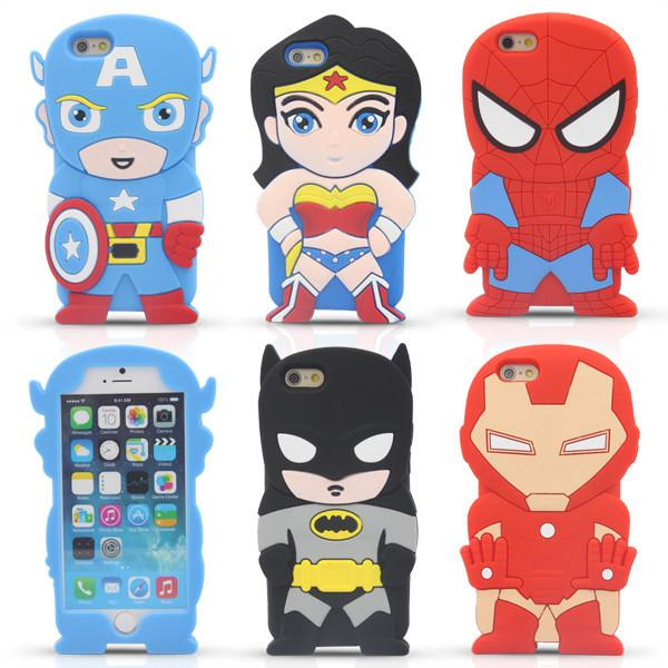 3D Cartoon Venom Ironman Captain America Spider Superman Bat Man Batgirl Superhero Silicone Case For iPhone 4 4S 5 5S 6 Plus iPod Touch 4 5