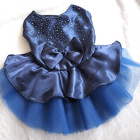 Wholesale Drop Shipping Pet Apparel - Wholesale-Dog Cat Bow Red Blue Golden Tutu Dress Puppy Dog Clothes Lace Skirt Pet Apparel Free Shipping & Drop Shipping