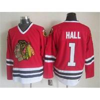 Wholesale Cheap Athletic Shorts - Hockey Jerseys Blackhawks #1 Hall Throwback Jerseys Chicago Hockey Wears Mens Jerseys Cheap Athletic Apparel Discount Outdoor Wears