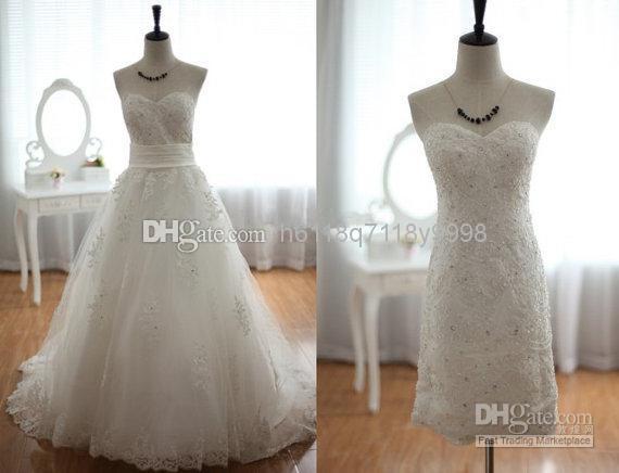 Discount Wholesale Lace Tulle Wedding Dress 2 1 Detachable