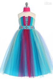 Wholesale Sz Custom Dresses - Wholesale - Lovely Rainbow Tulle Tea-Le Flower Girls' Dresses Girls' Formal Dresses Princess Pageant Skirt Holidays Brithday Skirt SZ 2-10