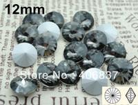 Wholesale Crystal Rivoli Diamond - 200pcs Lot, 12mm Black Diamond Crystal Rivoli Stones, Free Shipping! Chinese Top Quality Crystal Rivoli