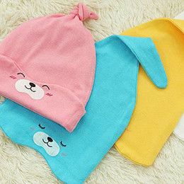 Wholesale Crochet Beanie Pattern Child - Wholesale-#HC015 Wholesale (3pcs lot) Children Sleeping Hats Head Cap With Bear Pattern 100% Cotton Cap Baby Beanie Mix 3 Colors
