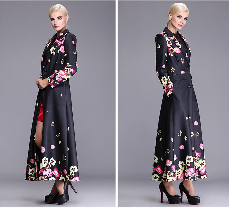2017 2015 Spring Autumn Women'S Trench Coats Polyester Floral Plus ...