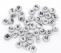 Wholesale Acrylic Letter Beads Wholesale - Wholesale-Free Shipping! 2500Pcs Mixed Silver-grey Flat Round Alphabet  Letter Acrylic Spacer Beads 7mm.(B09882)