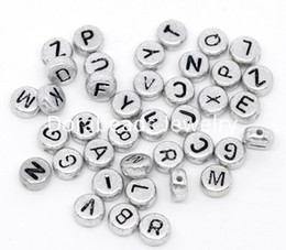Wholesale 7mm Round Beads - Wholesale-Free Shipping! 2500Pcs Mixed Silver-grey Flat Round Alphabet  Letter Acrylic Spacer Beads 7mm.(B09882)