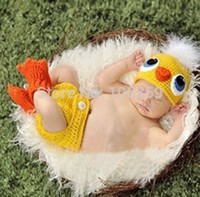 Wholesale Crochet Baby Diaper Cover - Wholesale-Newborn Baby Crochet Photography Props Duck Design Baby Hat with Diaper Cover Toddler Animal Costume Outfit H054