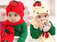 Wholesale Ladybug Hat For Baby - Wholesale-Winter Children's Baby Caps Fashion Boys Ladybug Hat+Scarf Set Cute Kids Beetle Animal Hats Accessories Knitted Cap For Girls