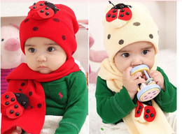 Wholesale Ladybug Winter Kids Hats - Wholesale-Winter Children's Baby Caps Fashion Boys Ladybug Hat+Scarf Set Cute Kids Beetle Animal Hats Accessories Knitted Cap For Girls