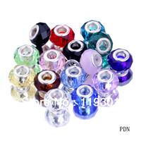 ingrosso perle di vetro cristallo rondelle-All'ingrosso-all'ingrosso 100pcs assortiti Charms 5mm foro Rondelle sfaccettato cristallo di vetro perline di murano per il braccialetto europeo Neckalce PDN