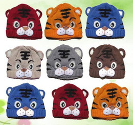 Wholesale Kids Tiger Bonnet - Wholesale-Free Shipping Kids Toddlers Baby Girls Boys Knit Cute Tiger Hat Cap Beanie Bonnet