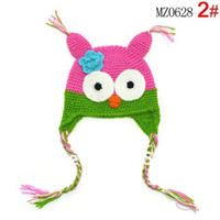 Wholesale Hats Owl Handmade - Wholesale-100% cotton handmade 6 colors crochet baby earflap knitting hat kids animal hat winter hat owl hat, 10pcs lot
