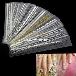 Wholesale Lace French Nail - Fashion Beauty 12pcs Acrylic Mix Lace Stylish Decal For Nail Art French Tips Nail Sticker Decoration Free Shipping B3 8620