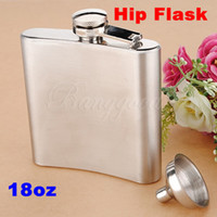 Vente en gros-Whiskey Hip Flask Pocket Wine Liquor Alcool Wedding Party Bar Drink Bottle Cap