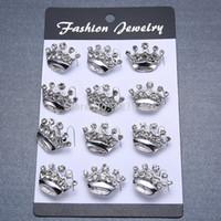 mini broschen china großhandel-Mode Mini Brosche Pins Kronenform Broschen Für Dame Legierung Broschen 12 teile / los FBR002