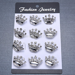 Fashion Mini Brooch Pins Crown Shape Brooches For Lady Alloy Brooches 12pcs lot FBR002