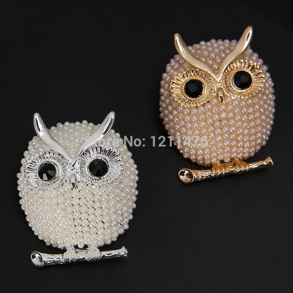 Hot! Fashion Brooch Pins Lovely Owl Shape Brooches For Unisex Pearl Brooch Free Shipping 4pcs/lot FBR003