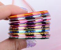 Wholesale Nail Art Tips Striping Tape - 2014 New 30Pcs Mixed Colors Nail Rolls Striping Tape Line DIY Nail Art Tips Decoration Sticker Nails Care b4 19817
