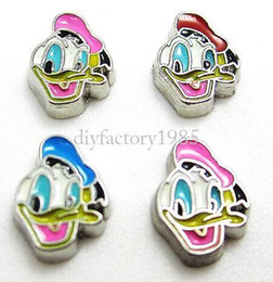 """Wholesale Donald Duck Charms - 10pcs lot """"Donald Duck"""" floating charms DIY charms for necklace & bracelets fashion charms accessories glass Locket charmsLSFC081*10"""