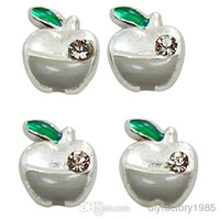 "Wholesale Glass Apple Necklace - 10pcs lot ""Apple"" floating charms DIY charms for necklace & bracelets fashion charms accessories glass Locket charmsLSFC099*10"