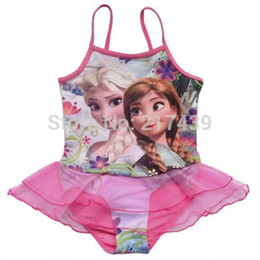 Wholesale Boys Swimmers - Free shipping frozen elsa anna girl girls baby children swimwear tog togs swimmer bather 5 pcs lot