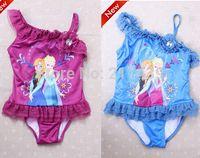 Wholesale Boys Swimmers - Free shipping FROZEN Elsa Anna girl girls summer swimwear swimmer bather swimsuit tutu dress togs