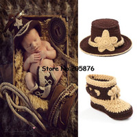 Wholesale Red Boots For Toddlers - Wholesale-Classic Crochet Baby Cowboy Hat and Boots set Newborn Photo Props for Boys Infant Toddler Knitted Costume 0-12M 1set MZS-14026