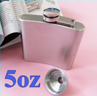Vente en gros-Whiskey Hip Flask Pocket Wine Liquor Alcool Wedding Party Bar Boisson Bouteille Cap5oz
