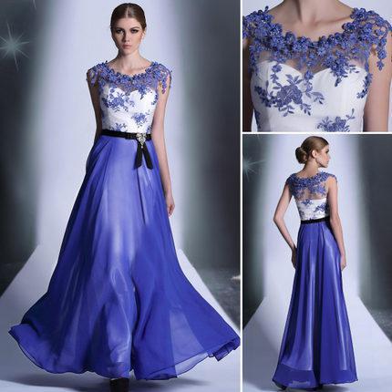 2014 High Street Long Design Evening Dress Blue Silk