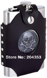 Wholesale Stainless Steel Skull Flask - Wholesale-Skull 8oz sprit flask with a fake leather bag