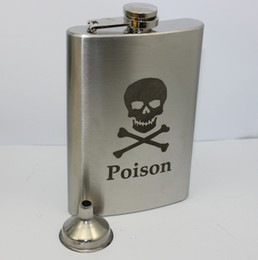 Wholesale Stainless Steel Skull Flask - Wholesale-10pcs lot ,lead -free,9OZ skull flask with free funnel