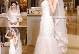 Wholesale Cheap Mantilla Bridal Veils - New 2014 One Layer Tulle 140 cm Bridal Veils with Lace Edge and Beads Long Wedding Mantilla   Available Two Layers and Finger Length Cheap