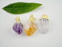 Wholesale Citrine Amethyst Jewelry - 3 Pcs Nature Amethyst   Citrine   Quartz Druzy Pendants Gold plated edge, Crystal Drusy Gem Stone Jewelry Pendant