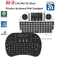 handfernbedienung großhandel-Tropfen-Verschiffen Rii mini i8 Luft-Maus-Multimedia-Fernbedienung Touchpad-Hand-Tastatur für TV BOX PC Laptop Tablet Mini PC